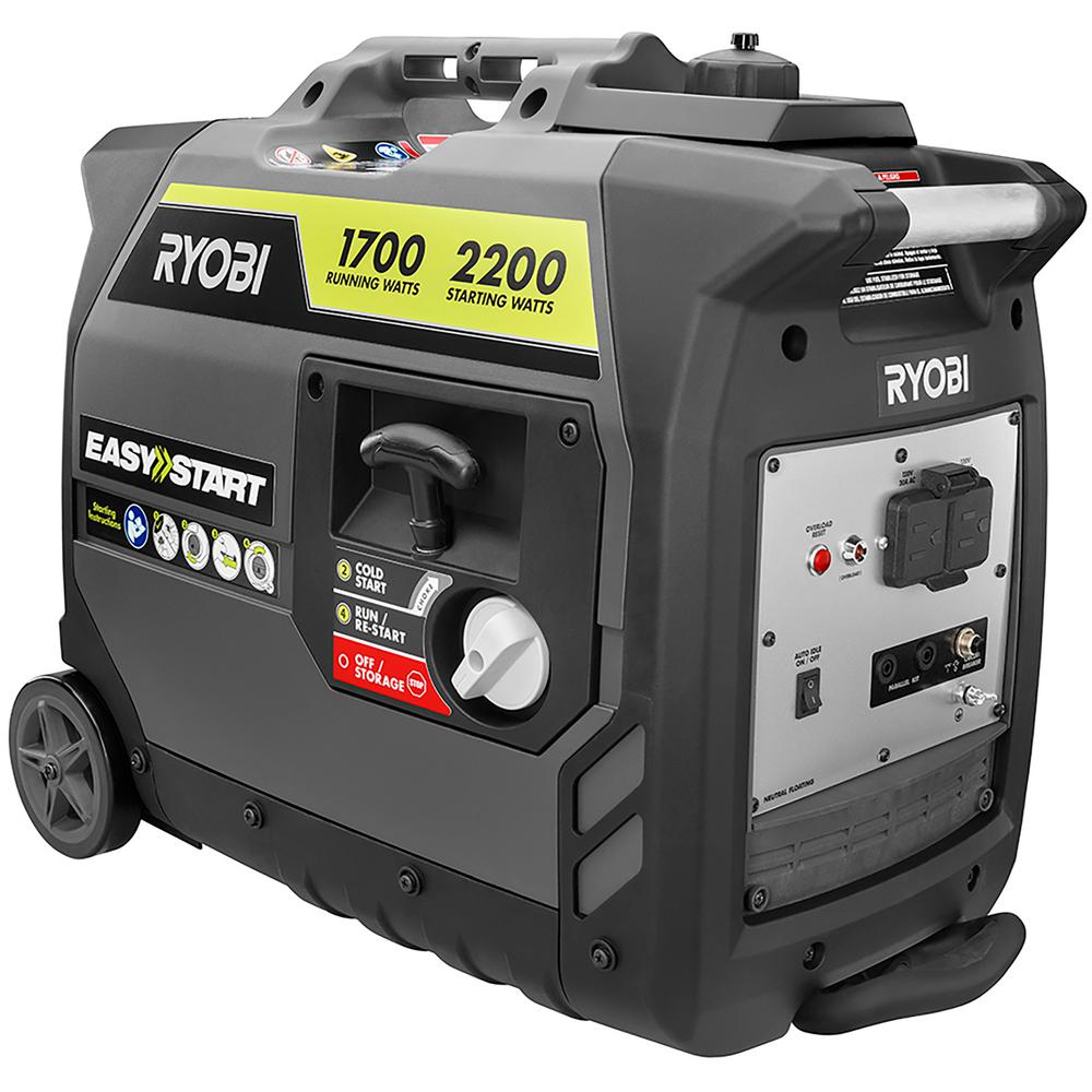 ryobi 2 200 watt gray gasoline powered digital inverter generator ryi2200gr the home depot. Black Bedroom Furniture Sets. Home Design Ideas