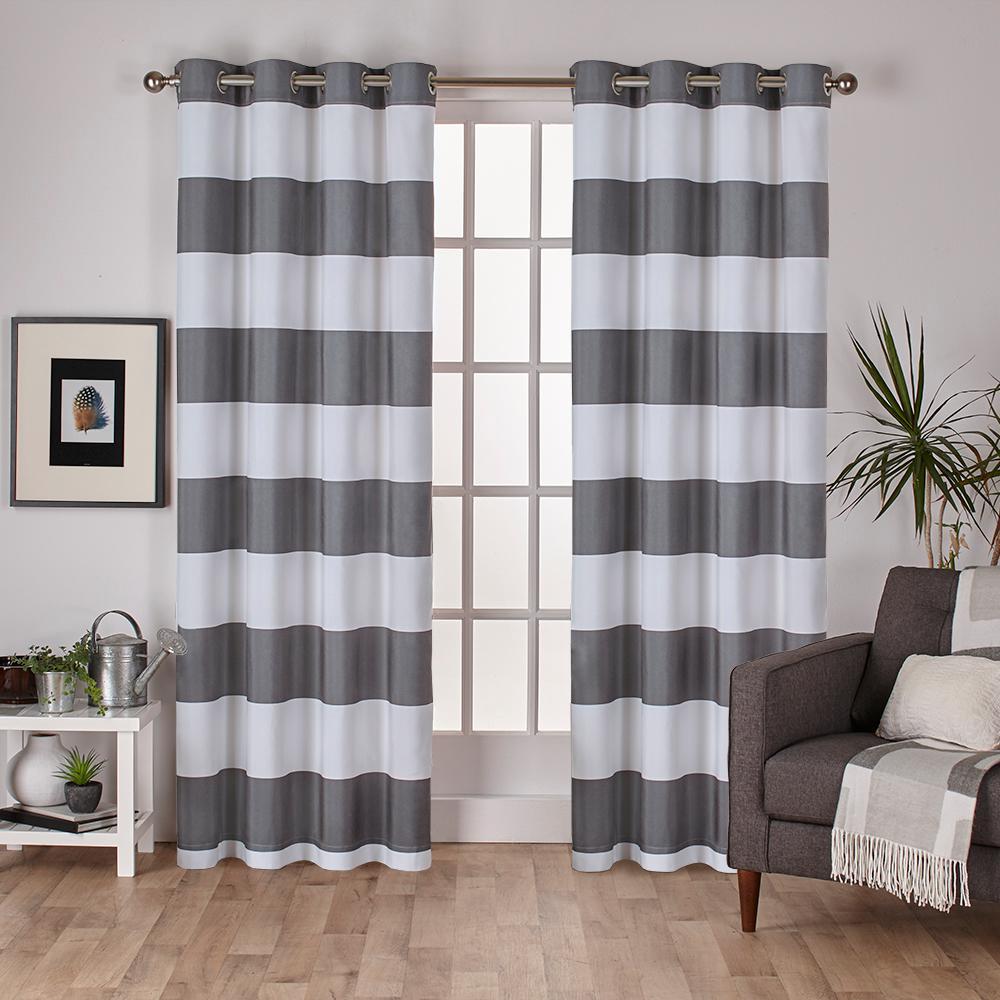 Surfside Black Pearl Cabana Stripe Cotton Grommet Top Window Curtain