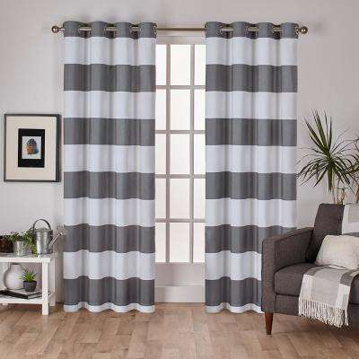 Surfside 54 in. W x 96 in. L Cotton Grommet Top Curtain Panel in Black Pearl (2 Panels)
