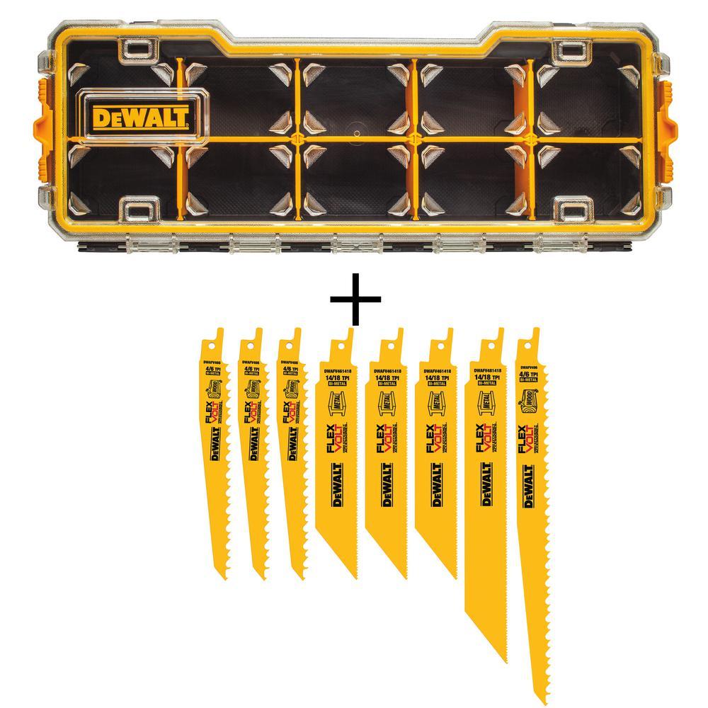 DEWALT FLEXVOLT Bi-Metal Reciprocating Saw Blade Set (8-Piece) with10-Compartment Pro Small Parts Organizers