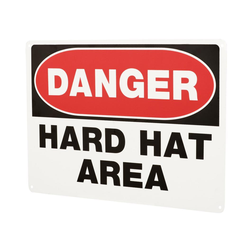 10 in. x 14 in. Aluminum Danger Hard Hat Area Sign