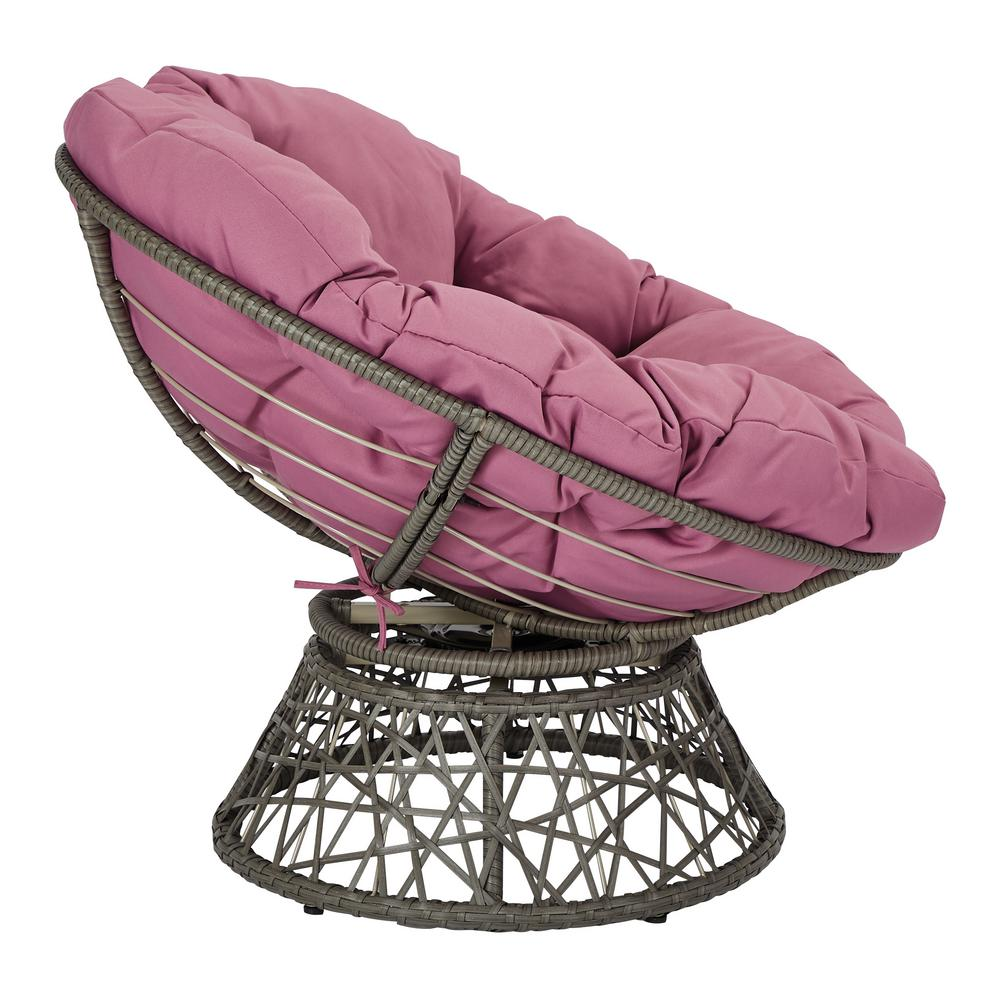 Super Osp Home Furnishings Papasan Chair With Purple Round Pillow Pabps2019 Chair Design Images Pabps2019Com