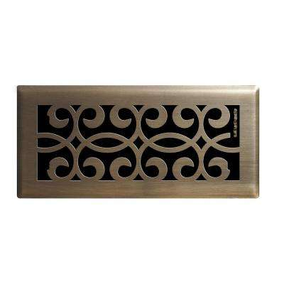 4 in. x 10 in. Classic Scroll Floor Register in Antique Brass