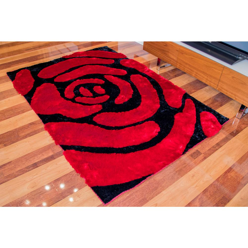 Amazing Rugs Shaggy Red Rose Soft Hand Tufted Area Rug 100 Polyester