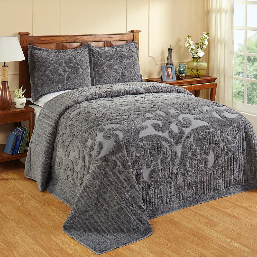 Ashton Collection in Medallion Design Gray Queen 100% Cotton Tufted Chenille Bedspread