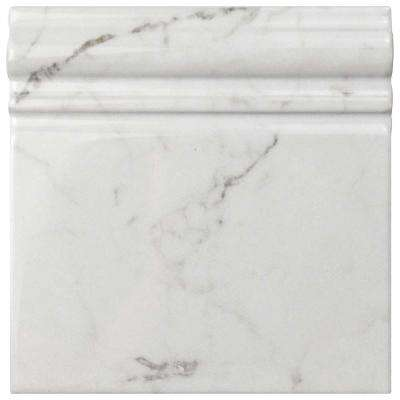 Classico Carrara Glossy Skirting Base 6 in. x 6 in. Ceramic Wall Trim Tile