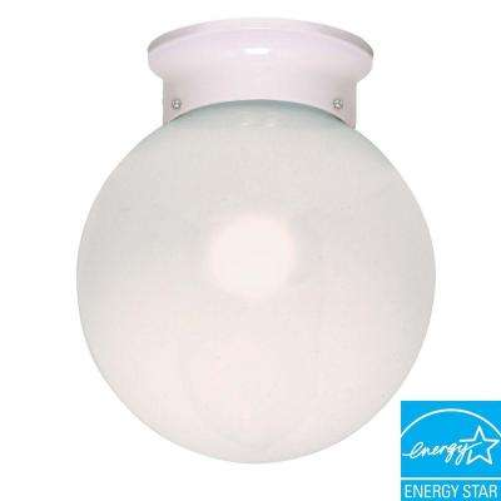 1-Light White Ball Flush Mount