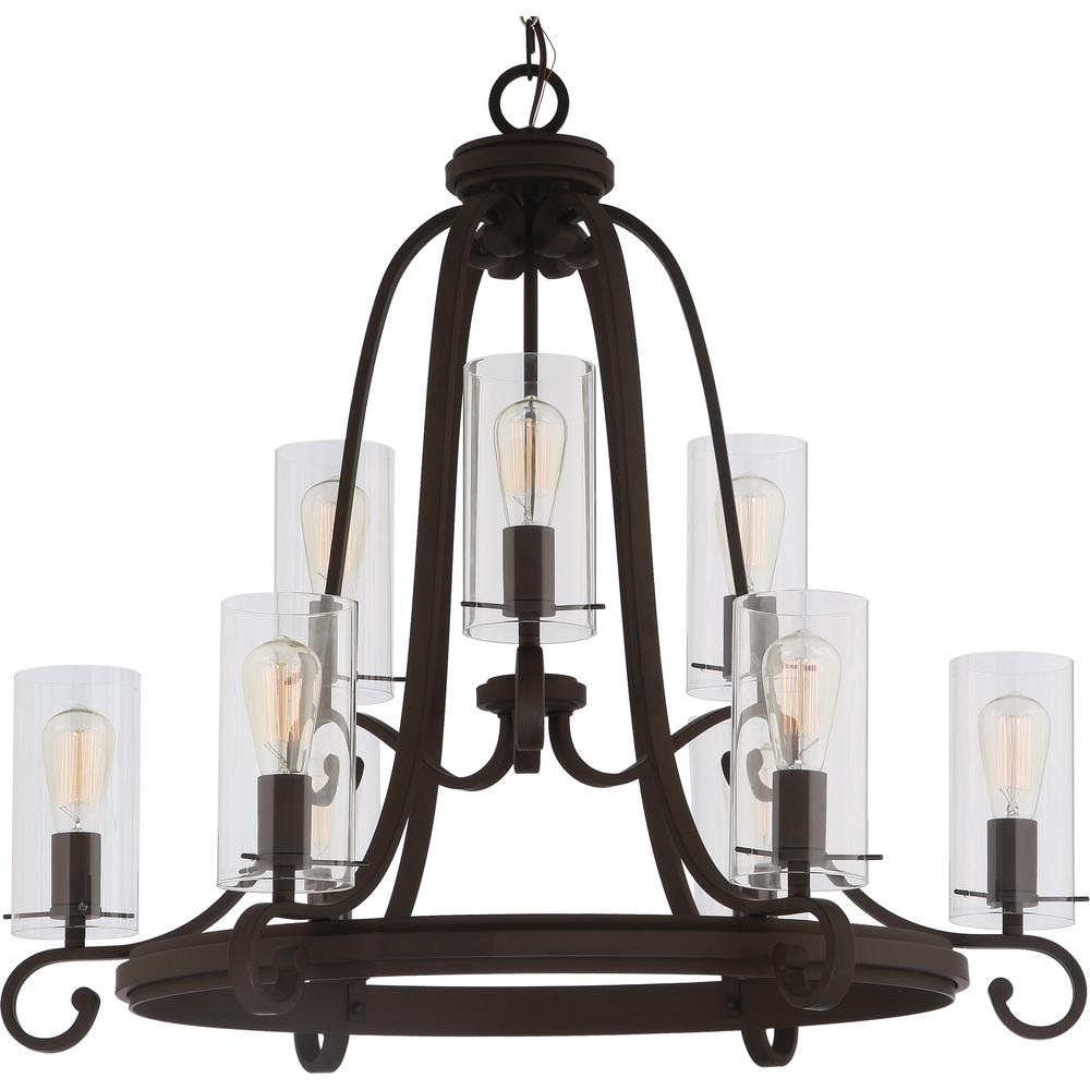 Volume Lighting Regina 9-Light Antique Bronze Indoor Hanging Chandelier with Clear Glass Cylinder Shades