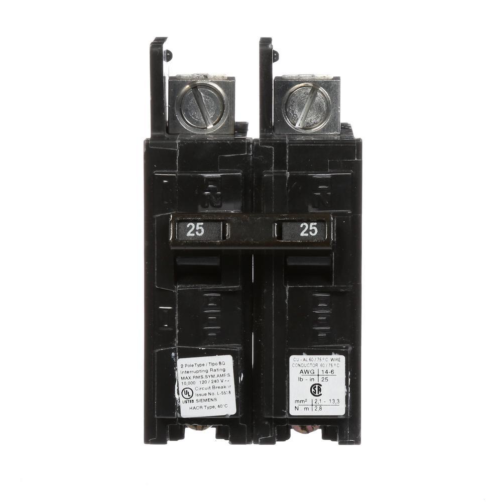 25 Amp 2-Pole Type BQ 10 kA Lug-In/Lug-Out Circuit Breaker with
