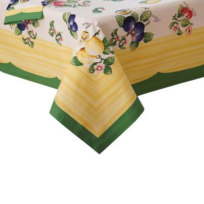 French Garden 68 in. W x 126 in. L Fabric Tablecloth in Multi-Color