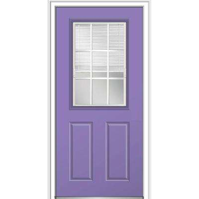 32 in. x 80 in. Internal Blinds GBG Low-E Glass Right-Hand 1/2-Lite Clear Painted Fiberglass Smooth Prehung Front Door