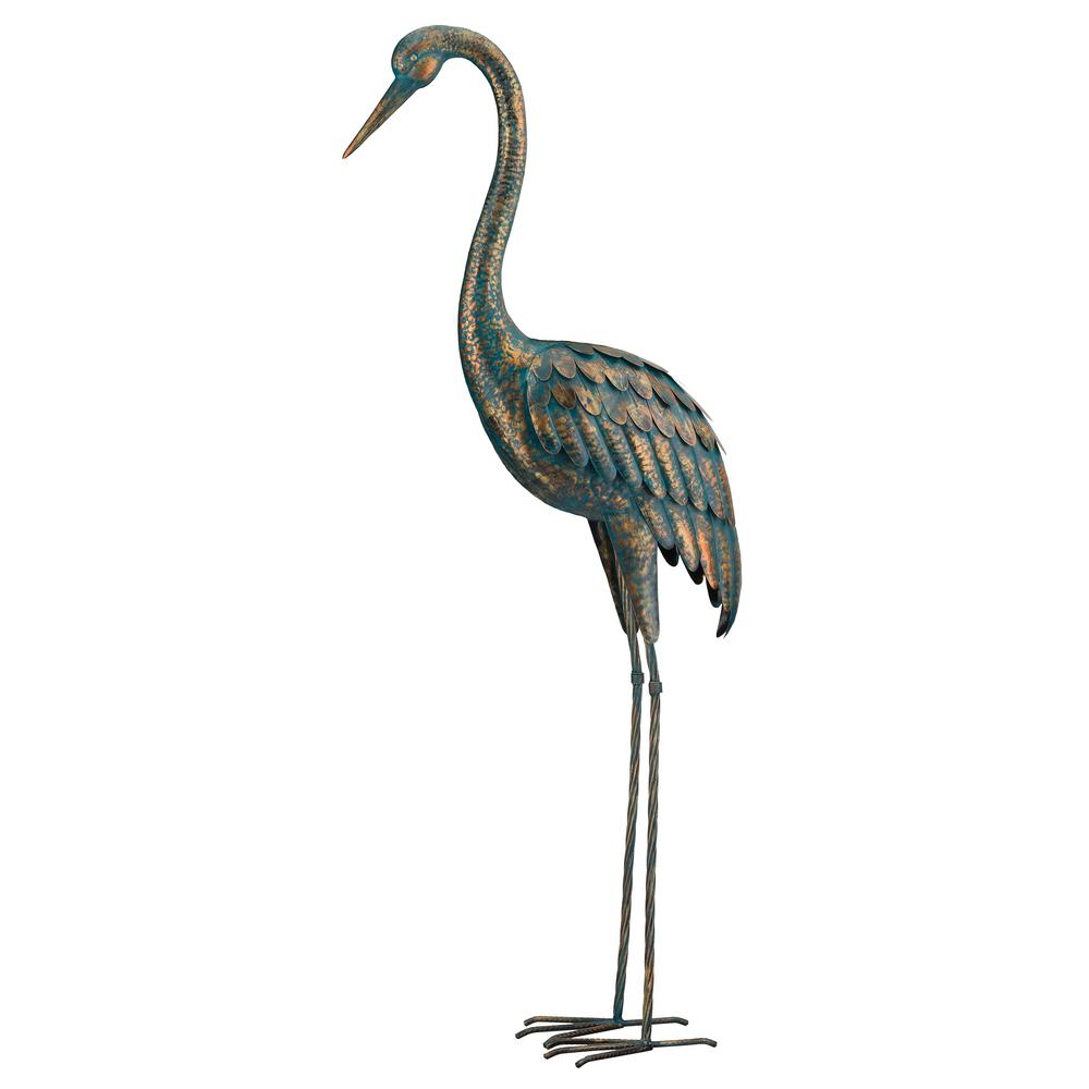 Regal Large 55 In Metallic Patina Crane Garden Statuary