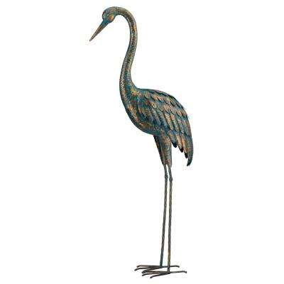 Large 55 in. Metallic Patina Crane Garden Statuary