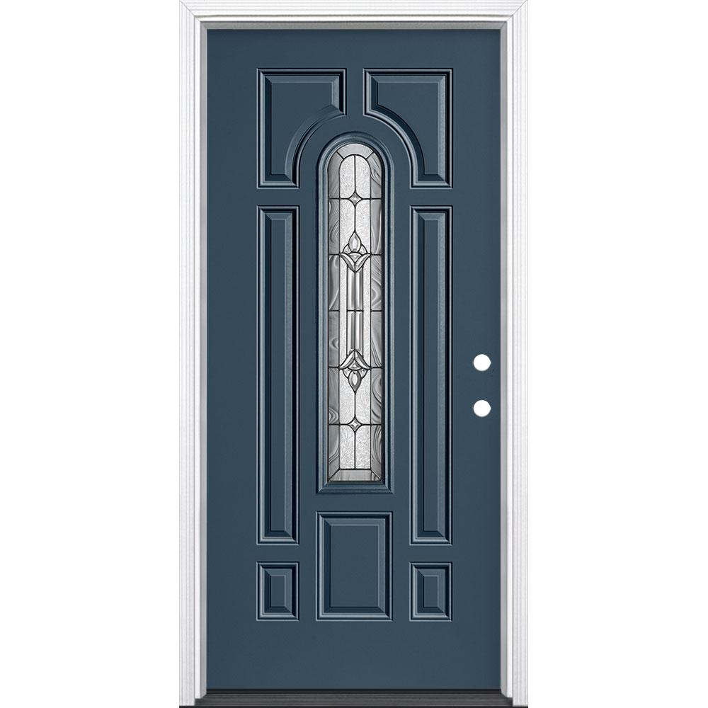 Masonite 36 in. x 80 in. Providence Center Arch Left Hand Inswing Painted Steel Prehung Front Door with Brickmold, Vinyl Frame