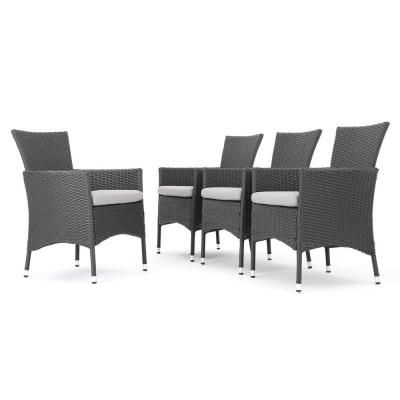 Malta Gray Removable Cushions Wicker Outdoor Dining Chairs with Light Gray Cushions (4-Set)