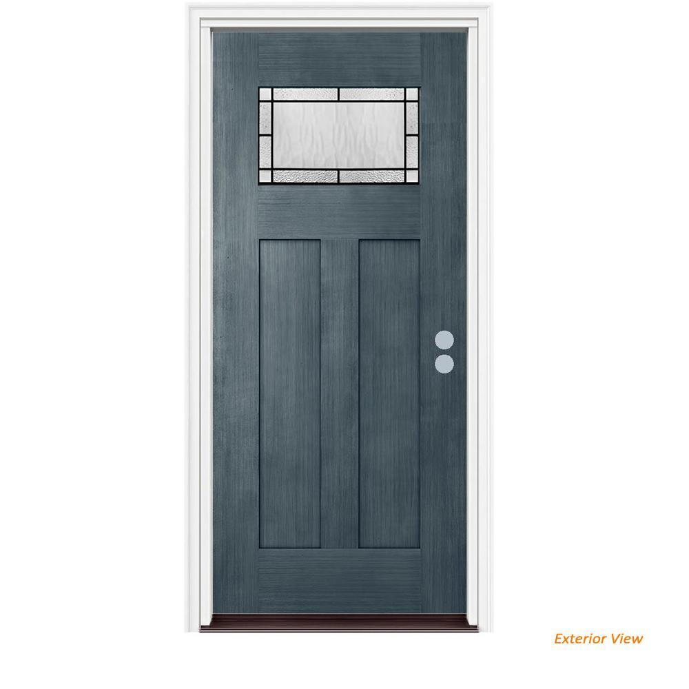 36 in. x 80 in. 1 Lite Craftsman Wendover Denim Stained Fiberglass Prehung Left-Hand Inswing Front Door w/Brickmould