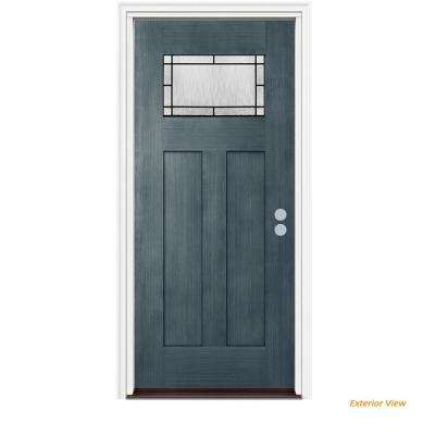 36 in. x 80 in. 1 Lite Craftsman Wendover Denim Stained Fiberglass Prehung Left-Hand Inswing Front Door w/Brickmould