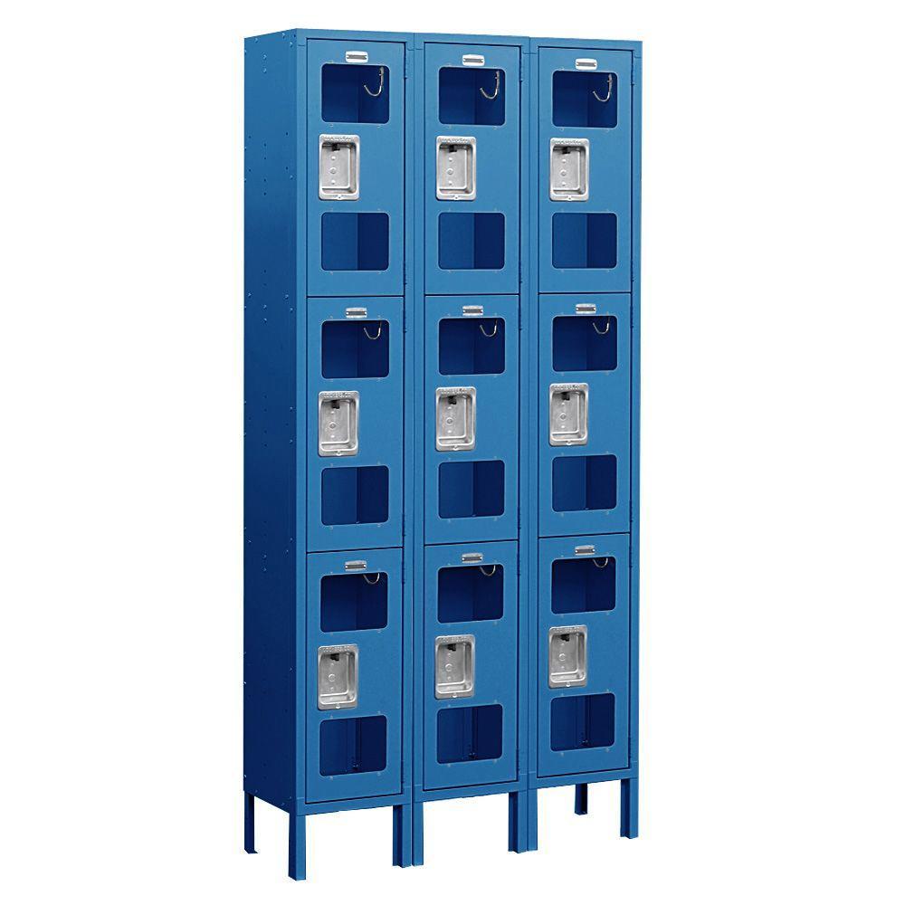 Salsbury Industries S-63000 Series 36 in. W x 78 in. H x 12 in. D 3-Tier See-Through Metal Locker Assembled in Blue