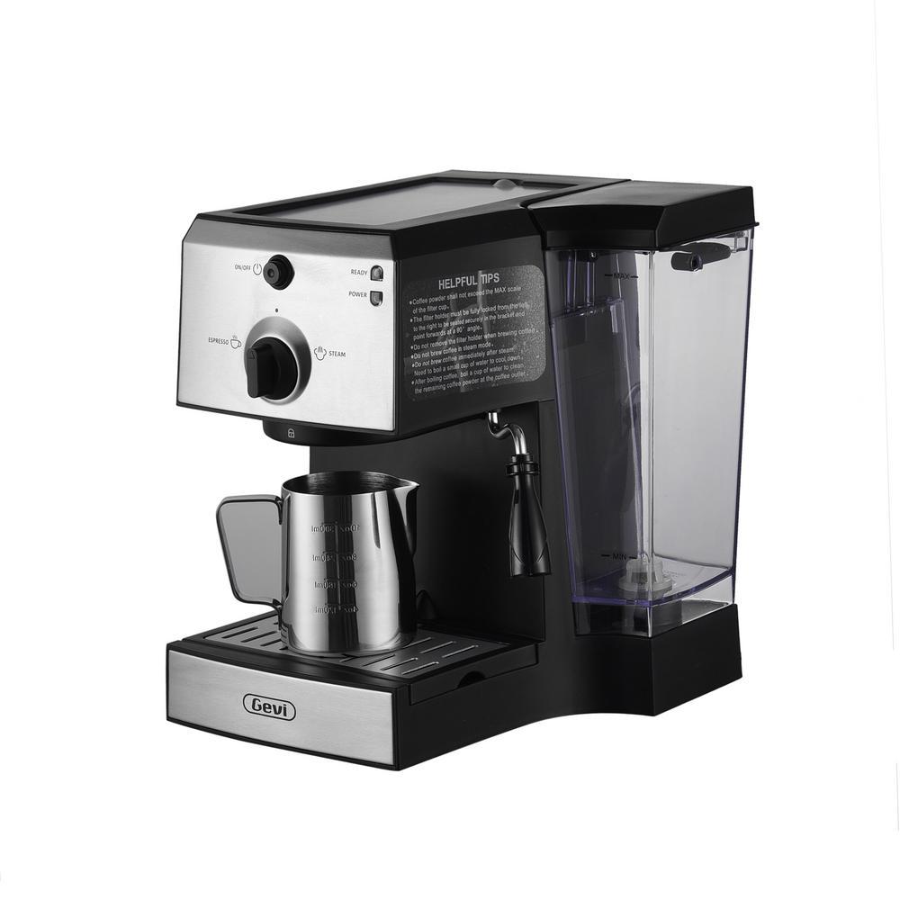 2-Cup Black Espresso Maker and Cappuccino Machine
