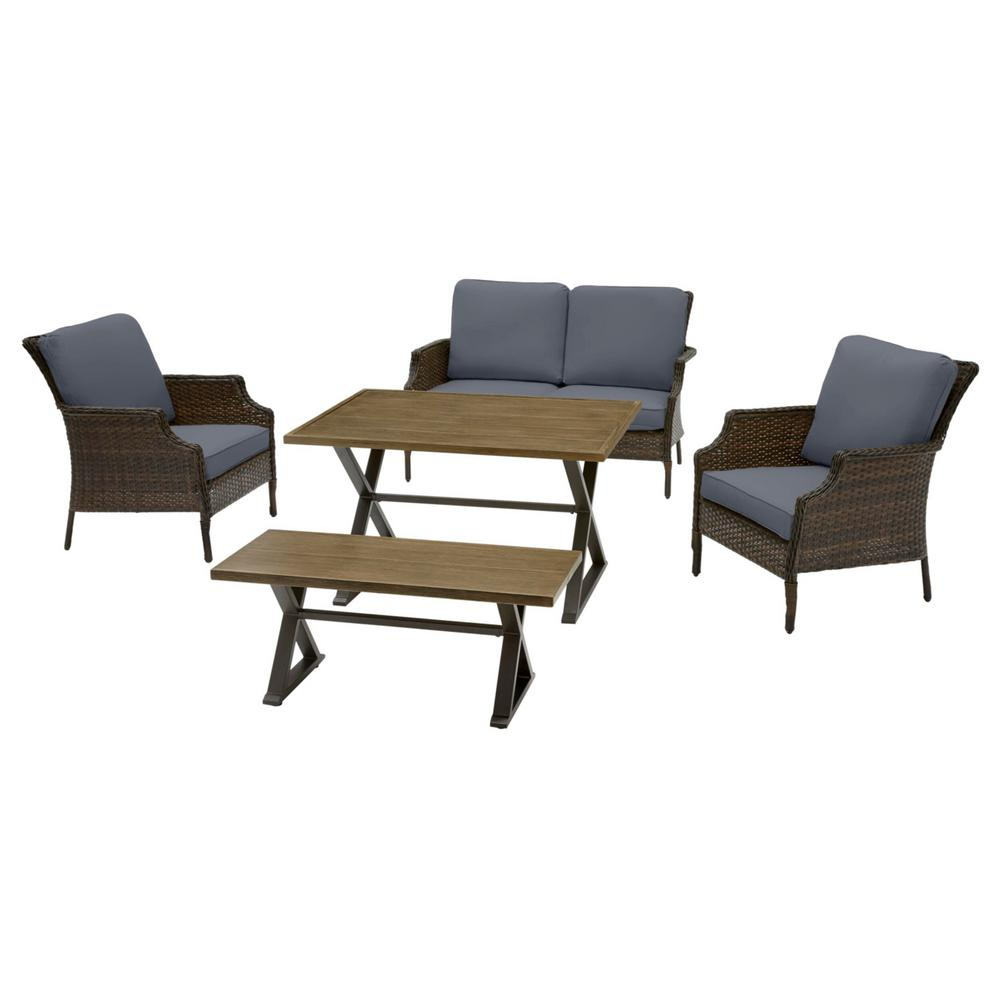 Hampton Bay Grayson 5-Piece Brown Wicker Outdoor Patio Dining Set with CushionGuard Sky Blue Cushions was $699.0 now $559.2 (20.0% off)