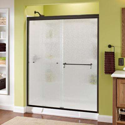 Portman 60 in. x 70 in. Semi-Frameless Sliding Shower Door in Bronze with Rain Glass
