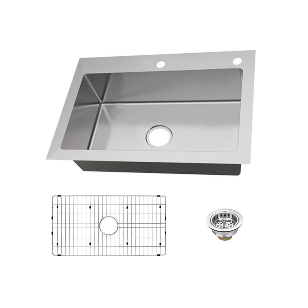 Glacier bay dual mount 18 gauge stainless steel 33 in 2 - Glacier bay drop in bathroom sink ...
