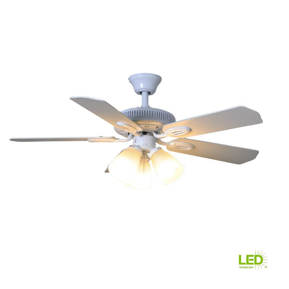 Hampton Bay Glendale 42 In Led Indoor White Ceiling Fan With Light Kit