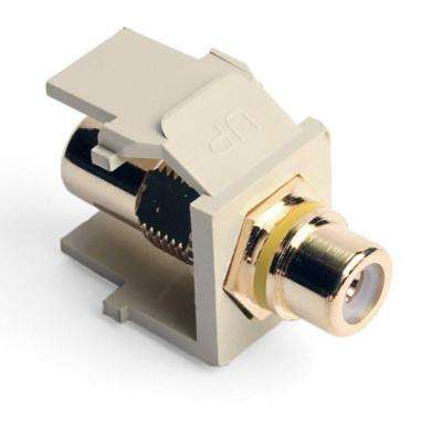 QuickPort RCA Jack Connector Yellow Stripe, Ivory