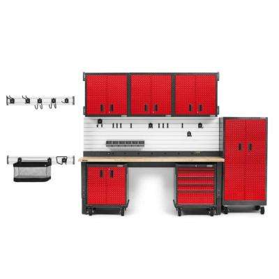 Premier Series 90 in. H x 126 in. W x 25 in.D Steel Garage Cabinet and Wall Storage System in Red Tread Plate (17-Piece)