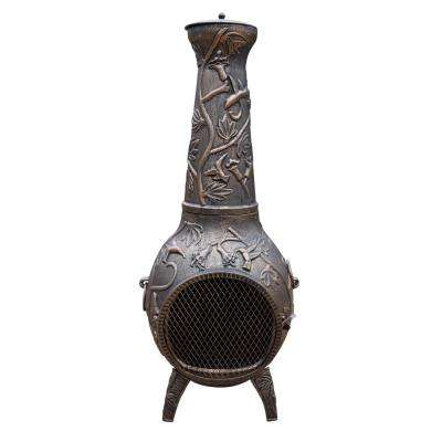 Hummingbird Cast Metal 53 in. Tall Chimenea with Built-in Handles, Log Grate, Spark Guard Screen on Stack and Door