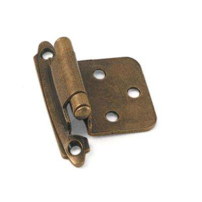 No Inset Antique Brass Self-Closing Hinge (1-Pair)