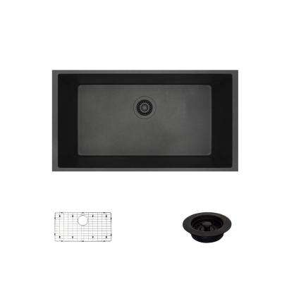 Undermount Composite Granite 32-5/8 in. Single Bowl Kitchen Sink in Carbon