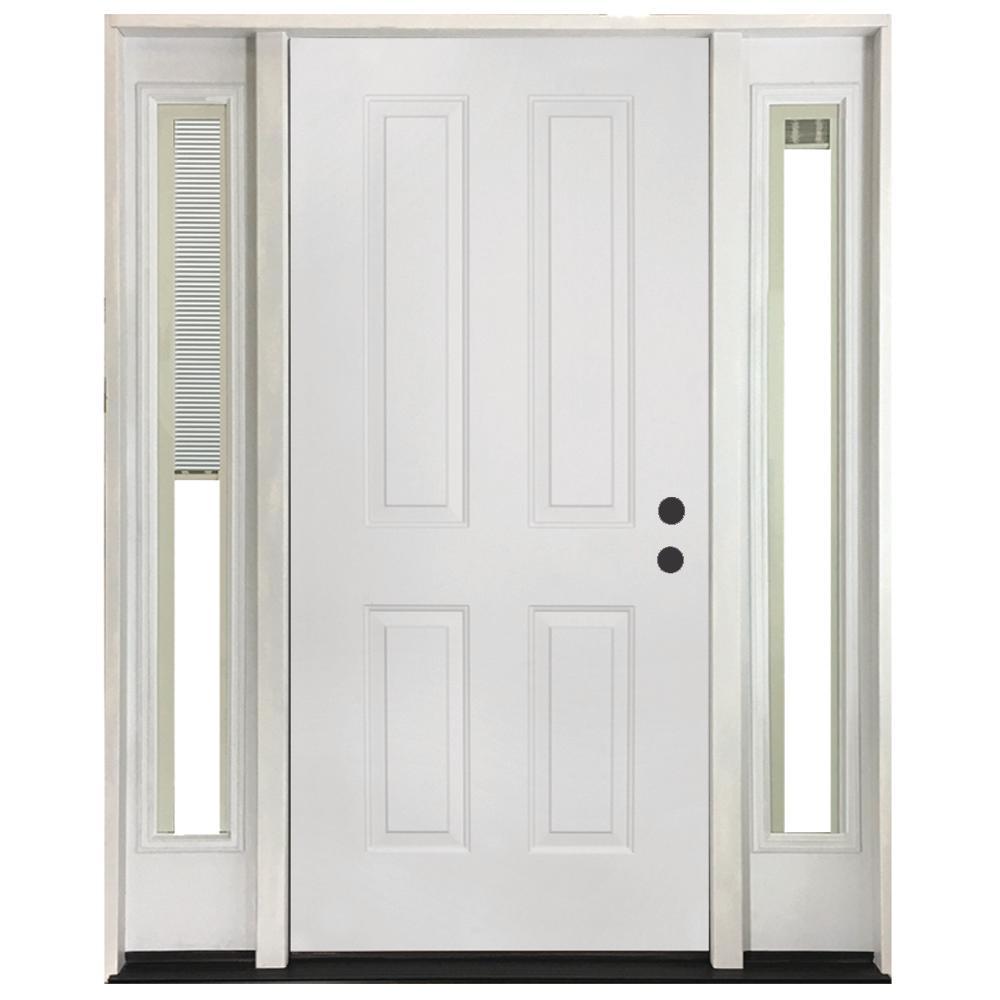 60 in. x 80 in. 4-Panel Primed White Left-Hand Steel Prehung Front Door with 10 in. Mini Blind Sidelites 4 in. Wall