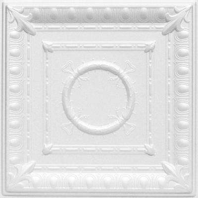 Romanesque 1.6 ft. x 1.6 ft. Foam Glue-up Ceiling Tile in Plain White (21.6 sq. ft. / case)