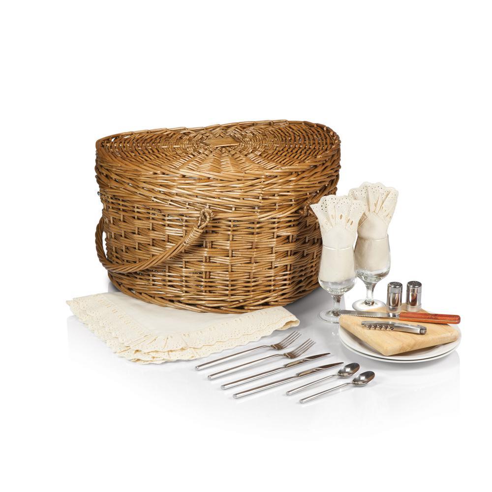 Heart Antique White 16 qt. Picnic Basket