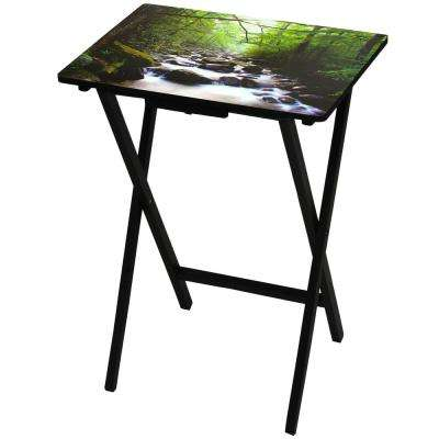 Oriental Furniture 19 in. x 13.75 in. River of Life TV Tray in Green