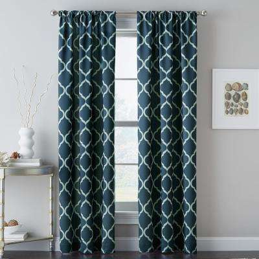 Casbah Trellis 40 in. W x 63 in. L Window Panel in Blue