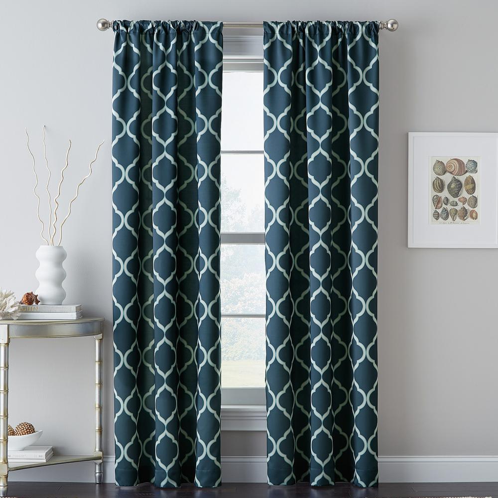 Casbah Trellis 40 in. W x 84 in L. Window Panel in Blue