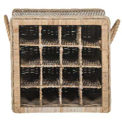 Aziza Stackable 16-Bottle Wine Cage with Handles in Natural