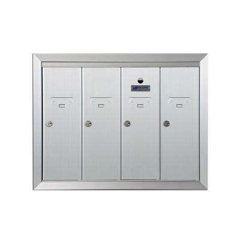 1250 Vertical Series 4-Compartment Aluminum Recess-Mount Mailbox