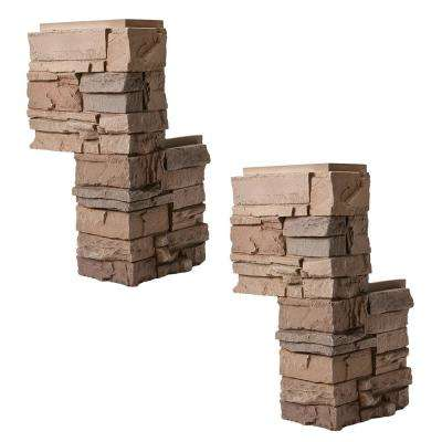 Stacked Stone Desert Sunrise 12 in. x 12 in. x 24 in. Faux Stone Siding Corner Piece (2-Pack)