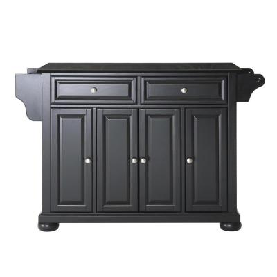 Alexandria Black Kitchen Cart with Granite Top