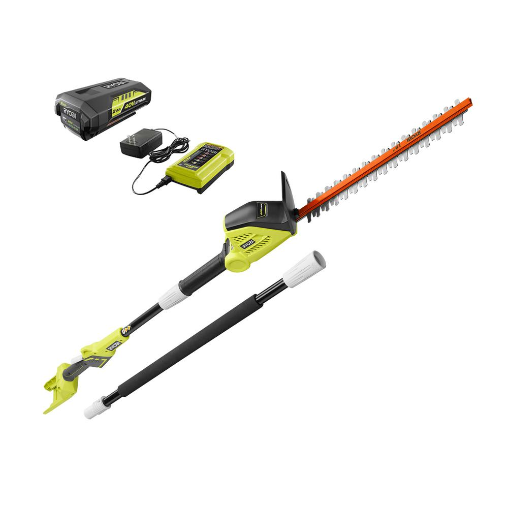 RYOBI RYOBI 18 in. 40-Volt Lithium-Ion Cordless Pole Hedge Trimmer with 2.0 Ah Battery and Charger Included