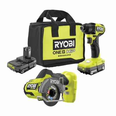 ONE+ HP 18V Brushless Cordless Compact 1/4 in. Impact Driver and Cut-Off Tool, (2) 1.5 Ah Batteries, Charger, and Bag
