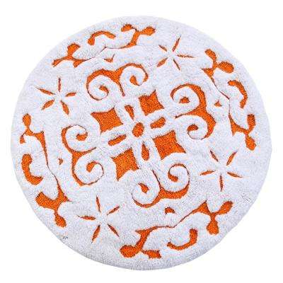 Damask 36 in. Round Cotton Orange/White Latex Spray Non-Skid Backing 200 GSF Machine Washable Bath Rug