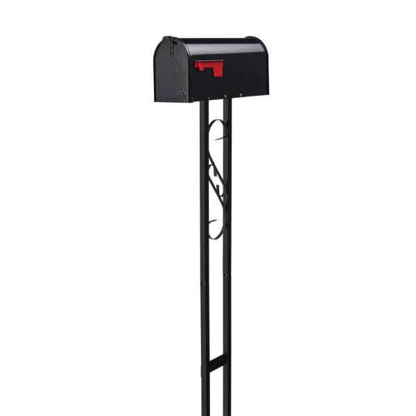 Mailbox To Go, All-in-One, Medium, Decorative Scroll, Steel, Mailbox and Post Combo, Black