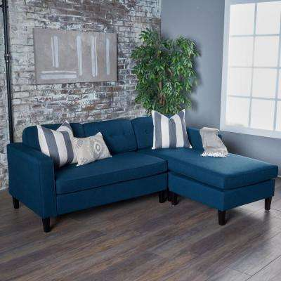 2-Piece Navy Blue Fabric Sectional