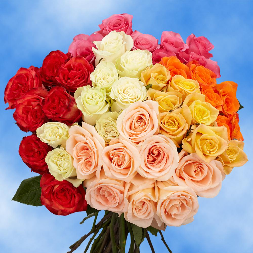 Flower bouquets garden plants flowers the home depot 50 assorted roses fresh flower izmirmasajfo