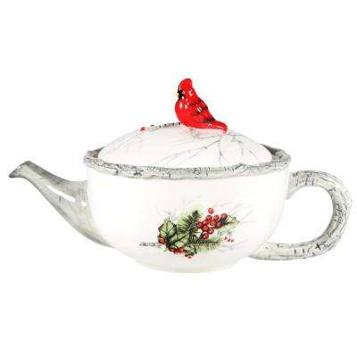 23 fl. oz. Cardinal Holly Teapot with Faux Bamboo Handle, Spout and Rim