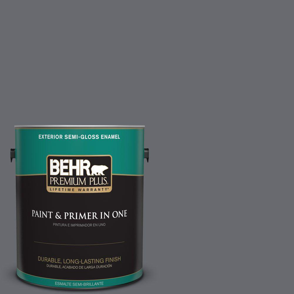 1 gal. #T16-15 Charcoal Plum Semi-Gloss Enamel Exterior Paint